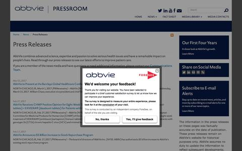 Screenshot of Press Page abbvie.com - Press Releases | AbbVie Newsroom - captured May 19, 2017