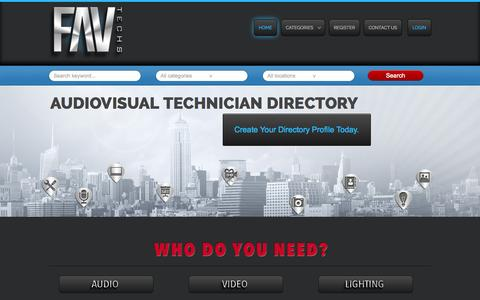 Screenshot of Home Page favtechs.com - FAV Techs | AudioVisual Technician Directory - captured Sept. 30, 2014