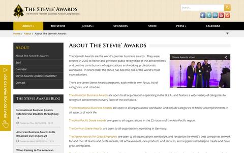 Screenshot of About Page stevieawards.com - About The Stevie® Awards | Stevie Awards - captured June 19, 2016