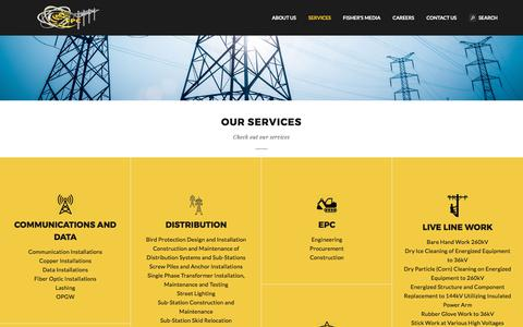 Screenshot of Services Page fisherplc.ca - Canadian Aboriginally Owned Company || Powerline Construction Company - captured Oct. 13, 2017