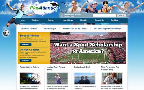 Screenshot of Home Page Site Map Page playatlantic.com - Sports Scholarships USA | College Sport Scholarship | Play Atlantic - captured Sept. 30, 2014