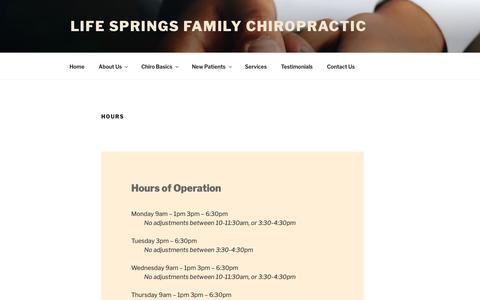 Screenshot of Hours Page chiropractordenvercolorado.com - Hours - Life Springs Family Chiropractic - captured Sept. 28, 2018