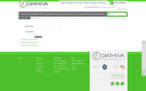 Screenshot of Login Page diatheva.com - DIATHEVA - Biomanufacturing of innovative diagnostics and reagents - Login - captured Oct. 12, 2017