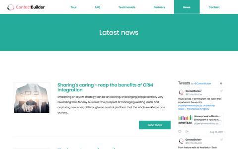 Screenshot of Press Page contact-builder.co.uk - News | ContactBuilder - captured Aug. 27, 2017