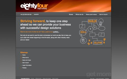 Screenshot of Site Map Page eightyfour.co.uk - Sitemap - captured Oct. 2, 2014
