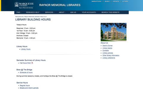 Screenshot of Hours Page mu.edu - Library Building Hours // Raynor Memorial Libraries // Marquette University - captured Sept. 22, 2018