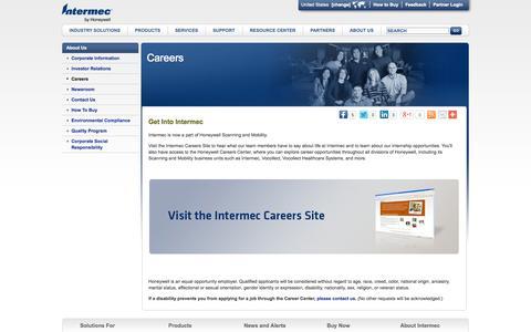 Screenshot of Jobs Page intermec.com - Honeywell Careers | Employee Testimonials | Career Opportunities - captured Sept. 25, 2014