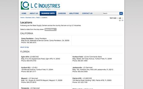 Screenshot of Locations Page lcindustries.com - LC Industries - Locations - captured Sept. 26, 2014