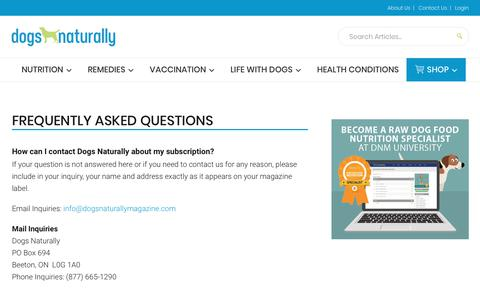 Screenshot of FAQ Page dogsnaturallymagazine.com - Frequently Asked Questions - captured Nov. 14, 2018