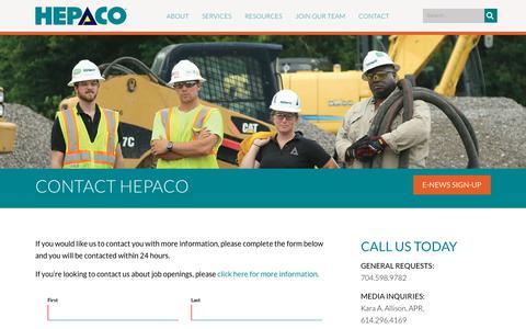 Screenshot of Contact Page hepaco.com - HEPACO > Contact - captured July 12, 2019
