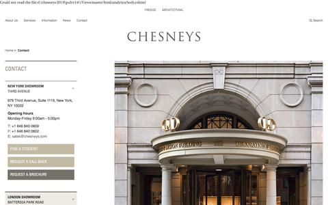 Screenshot of Contact Page chesneys.com - Contact - captured July 17, 2018