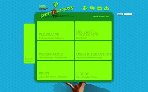 Screenshot of Home Page scottdscott.com - Scott D Cooksey | User Interaction Visual Designer | Home - captured Oct. 8, 2014