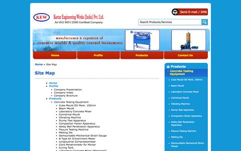 Screenshot of Site Map Page kartarengineeringworks.com - Site Map - Kartar Engineering Works India Private Limited - captured Oct. 6, 2014