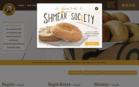 Screenshot of Menu Page einsteinbros.com - Einstein Bros. Bagels | Bagels & Shmear| Fresh Bagels, Gourmet Bagels & Double-Whipped Shmear - captured June 23, 2017