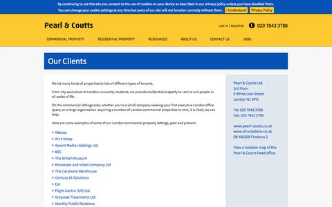 Screenshot of Site Map Page pearl-coutts.co.uk - Property Case Study | London commercial property agent | Pearl & Coutts - captured Oct. 8, 2014