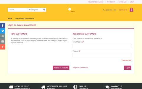 Screenshot of Login Page dahlia.net - Customer Login - captured Oct. 12, 2017