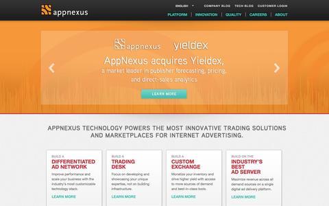Screenshot of Home Page appnexus.com - AppNexus - captured May 6, 2015