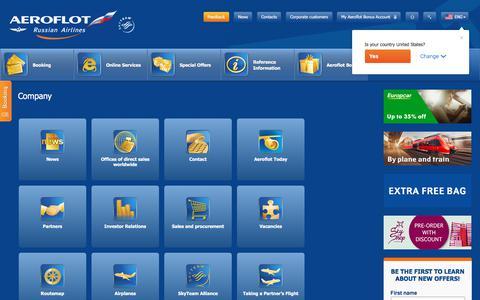 Screenshot of About Page aeroflot.ru - Company | Aeroflot - captured Sept. 21, 2018