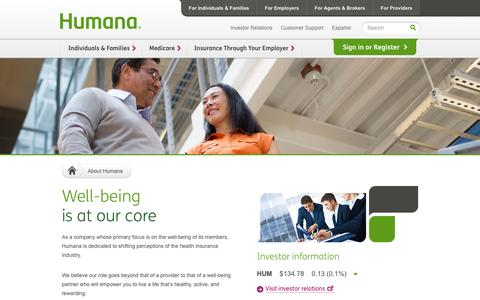 Screenshot of About Page humana.com - Humana - Insurance Plans to Consumer Health and Wellness - captured Sept. 18, 2014