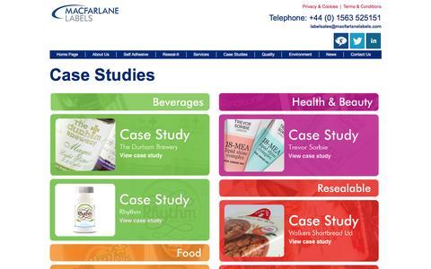 Screenshot of Case Studies Page macfarlanelabels.com - Case Studies: Innovative labelling solutions from Macfarlane Labels - captured Jan. 5, 2017