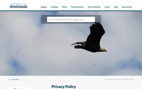 Screenshot of Privacy Page travel-british-columbia.com - Privacy Policy | Travel British Columbia - captured Nov. 8, 2018