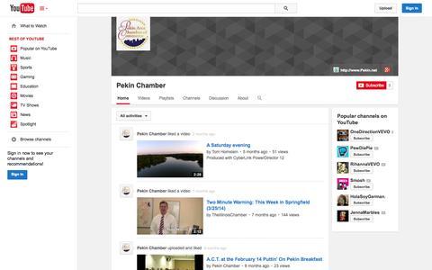 Screenshot of YouTube Page youtube.com - Pekin Chamber  - YouTube - captured Oct. 22, 2014
