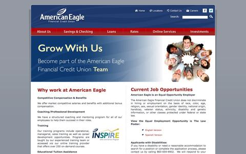 Screenshot of Jobs Page americaneagle.org - American Eagle Financial Credit Union - Careers - captured Nov. 20, 2016