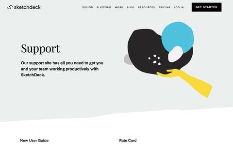 Screenshot of Support Page sketchdeck.com - SketchDeck | Support - captured Jan. 13, 2020