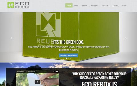 Screenshot of Home Page ecorebox.com - Eco ReBox LLC.   The Reusable Box Company and Plastic Packaging Experts - captured Sept. 29, 2014