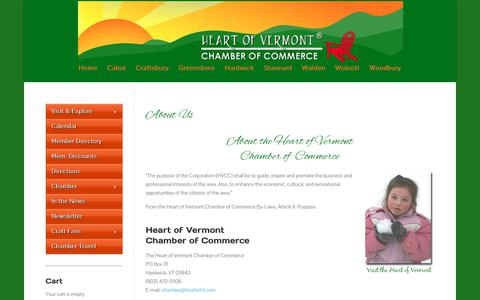 Screenshot of About Page heartofvt.com - About the Hardwick Vermont Chamber of Commerce, the heart of Vermont, located in the Northeast Kingdom of Vermont | Heart of Vermont Chamber of Commerce - captured July 2, 2018