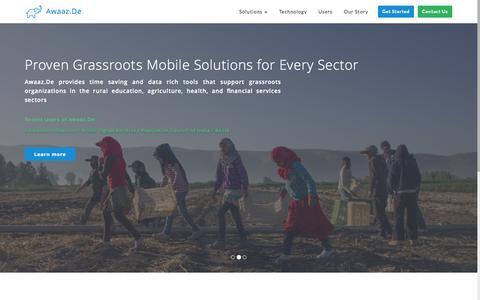 Screenshot of Home Page awaaz.de - Awaaz.De | Mobile Solutions for Social Impact - captured Jan. 23, 2015