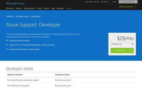 Screenshot of Developers Page microsoft.com - Support Plans—Developer | Microsoft Azure - captured July 3, 2016