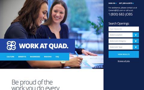 Screenshot of Jobs Page workatquad.com - Work At Quad - captured May 9, 2017