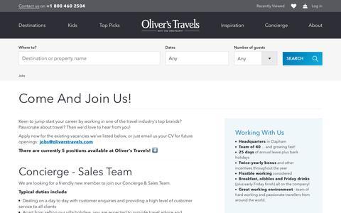 Screenshot of Jobs Page oliverstravels.com - Work for us! | Oliver's Travels - captured Sept. 20, 2018