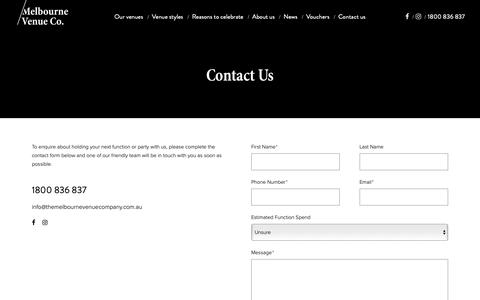 Screenshot of Contact Page themelbournevenuecompany.com.au - Contact Us To Make An Enquiry - Melbourne Venue Company - captured Oct. 2, 2018