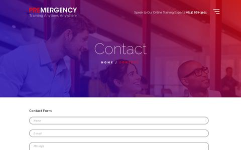 Screenshot of Contact Page premergency.com - Contact Premergency for any questions about our online learning - captured Aug. 22, 2017