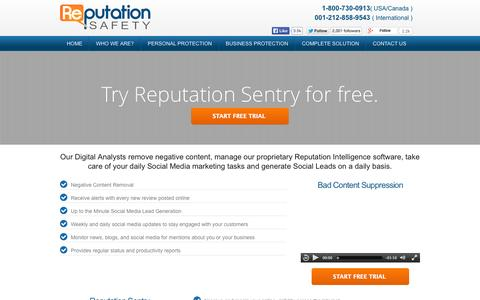 Screenshot of Trial Page reputation-safety.com - :: Reputation Safety :: - captured Oct. 8, 2014