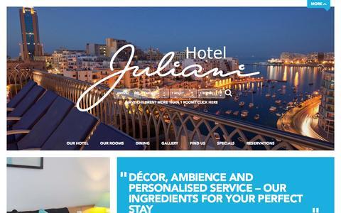Screenshot of Home Page hoteljuliani.com - Malta Hotels: Boutique Hotel Juliani - Modern Stylish Hotel in St Julians Malta - captured Sept. 30, 2014