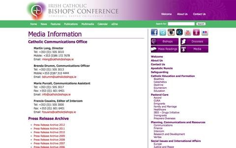 Screenshot of Press Page catholicbishops.ie - Media Information | Irish Catholic Bishops' Conference - captured Oct. 6, 2014