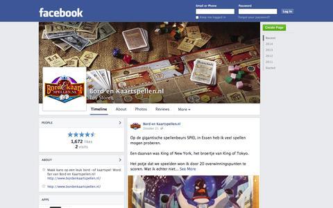 Screenshot of Facebook Page facebook.com - Bord en Kaartspellen.nl - Amersfoort, Netherlands - Toy Store | Facebook - captured Oct. 23, 2014