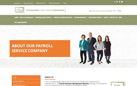 Screenshot of About Page flexchecks.com - Payroll, Timekeeping & HR Management   About FlexChecks - captured Oct. 10, 2018