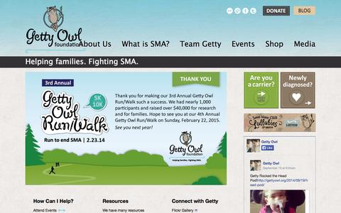Screenshot of Home Page gettyowl.org - Getty Owl Foundation - captured Oct. 2, 2014