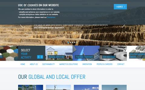 Screenshot of Home Page About Page lhoist.com - Lhoist - captured Sept. 30, 2014