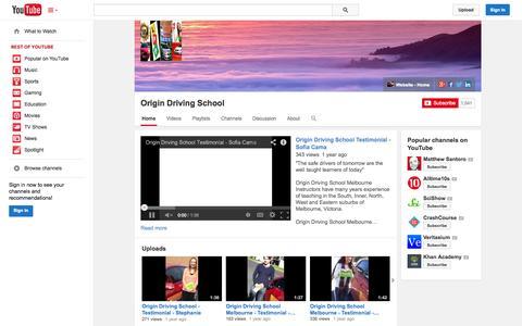 Screenshot of YouTube Page youtube.com - Origin Driving School  - YouTube - captured Oct. 25, 2014