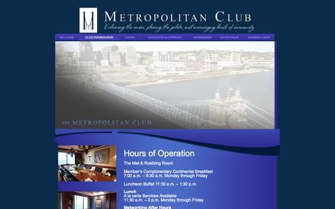 Screenshot of Hours Page metropolitanclub.net - Dining Room Hours - Metropolitan Club - - captured Oct. 27, 2014