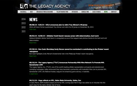 Screenshot of Press Page legacy-agency.com - The Legacy Agency - captured Oct. 26, 2014