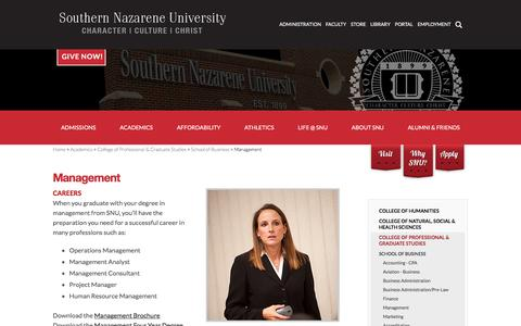 Screenshot of Team Page snu.edu - Management - captured Feb. 15, 2016