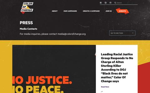 Screenshot of Press Page colorofchange.org - Color Of Change | Press - captured May 19, 2017