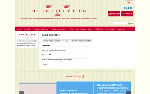 Screenshot of Login Page ttf.org - User account | The Trinity Forum - captured Oct. 18, 2018