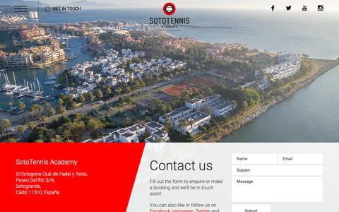 Screenshot of Contact Page sototennis.com - SotoTennis Academy | Contact Us | Tennis Academy Spain - captured Oct. 20, 2018